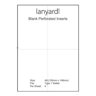 A4 Perforated Badge Insert Sheets - 105mm x 148mm (A6)