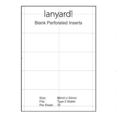 A4 Perforated Badge Insert Sheets - 86mm x 54mm