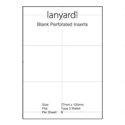 A4 Perforated Badge Insert Sheets - 77mm x 100mm