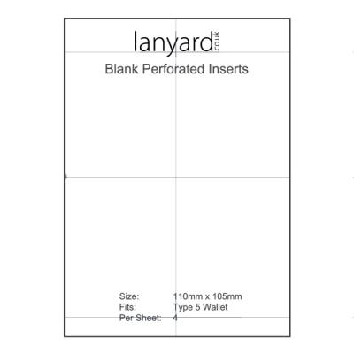 A4 Perforated Badge Insert Sheets - 110mm x 105mm